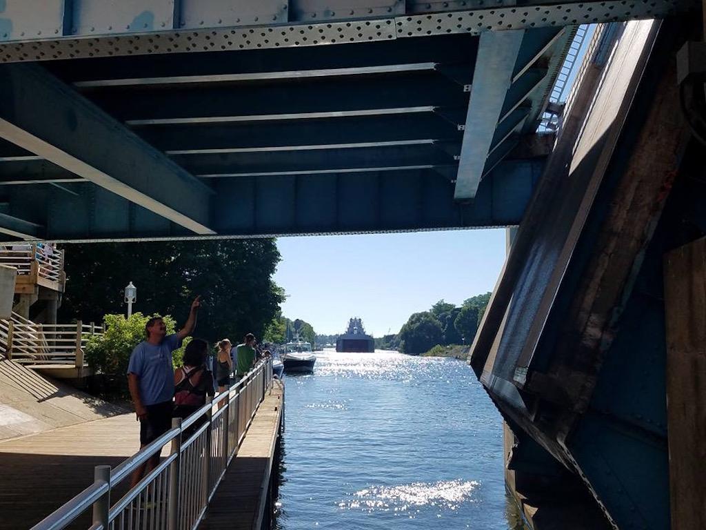 Manistee Riverwalk Freighter Sighting - photo credit Daryl Pieczynski