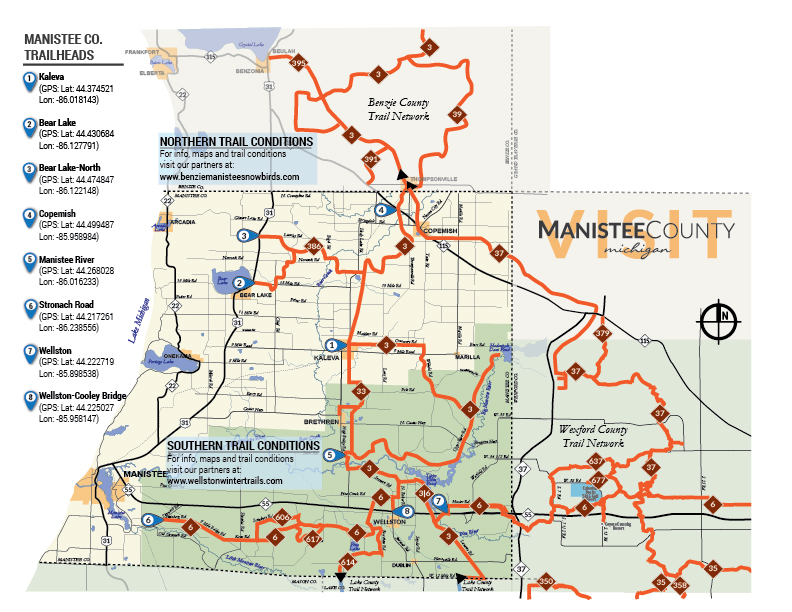 map illustrating manistee county snowmobile trailheads - map available for download on this site